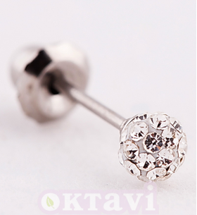 Серьги Pave Crystal Ball - St Steel (578C)