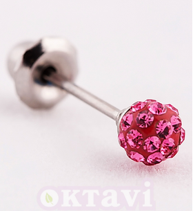 Серьги Pave Rose Crystal Ball - St Steel (588C)