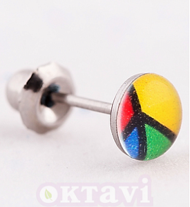 Серьги Button Color Peace Sign - St Steel (606C)